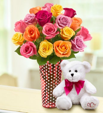 Assorted Roses, 18 Stems + Free Vase & Chocolates
