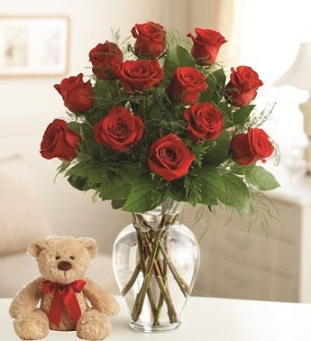Dozen Red Roses with Plush Bear