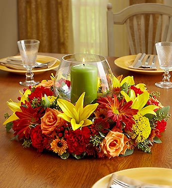 Fall Centerpiece with Pillar Candle