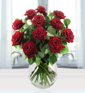 12 Red Long Stem Roses for Rakhi