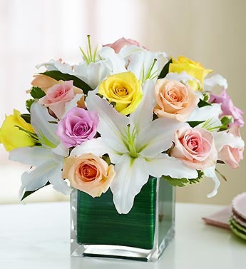 Pastel Roses & Lily Bouquet