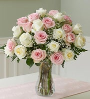 Two Dozen Long Stem Pink & White Rose Bouquet