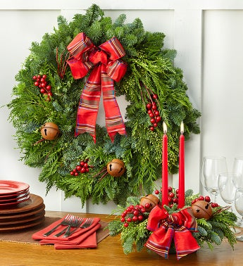 Festive Holiday Wreath & Centerpiece Set