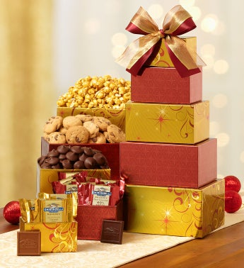 Golden Elegance Gift Tower with Ghirardelli�