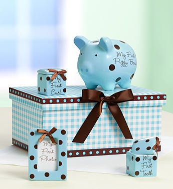 "Classic Blue Baby's ""Firsts"" Keepsakes Set"
