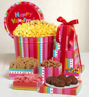 The Popcorn Factory� Happy Vday Tin & Tower