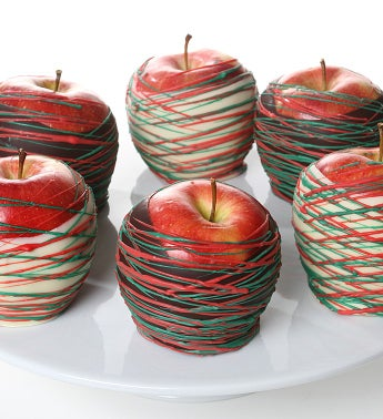 Holiday Belgian Chocolate Dipped Apples- 6pc