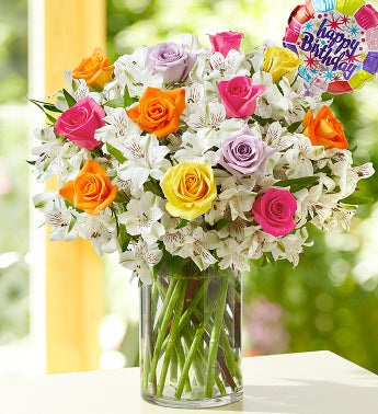 Birthday Rose & Peruvian Lily