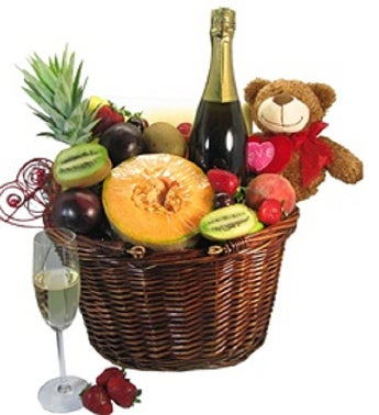 Fruit Basket With Sparkling Wine & Teddy Bear