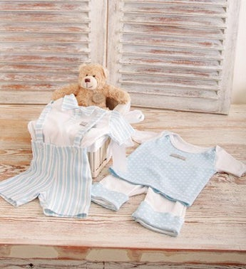Baby Boy and Teddy Gift Basket