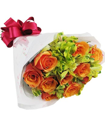 Orange Roses and Green Peruvian Lilies Bouquet