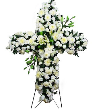 24 White Roses Standing Cross