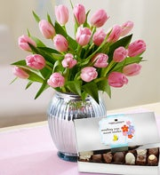 Perfectly Pink Tulips, 20 Stems + Free Vase