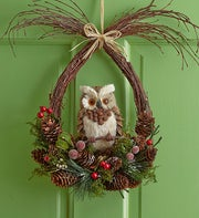 Faux Woodland Owl Wreath - 12?