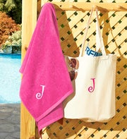 Personalized Beach Tote and Towel Set