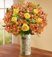 Fall Rose & Peruvian Lily Bouquet + Free Vase