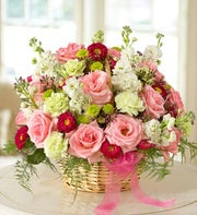 roses, asters, carnations, waxflower in basket