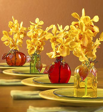 Colored Bottles with Orchids by Julie Mulligan