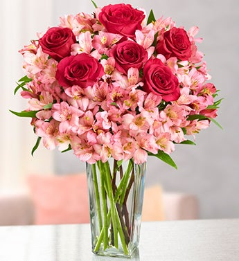 True Love Rose and Peruvian Lily Bouquet
