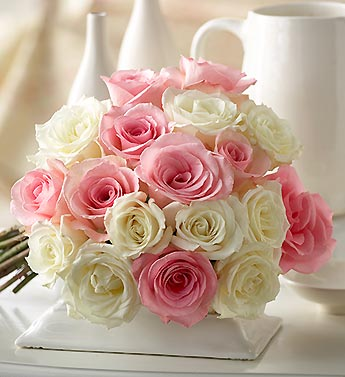 18 stems of pink and white roses