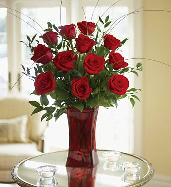 Blooming Love™ 12 Premium Red Roses in Red Vase (Product Code:90846)