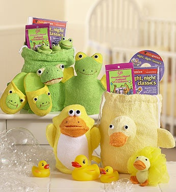 frog and duck bath toys