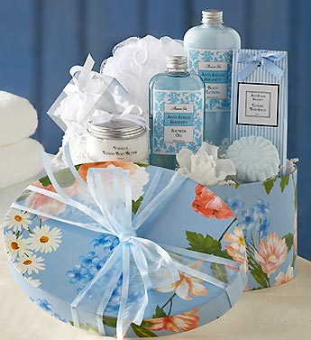blue keepsake hatbox with spa gifts