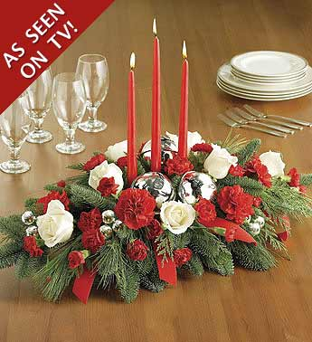 centerpiece, white, red roses, candle,evergreen