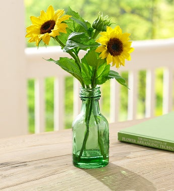 Silk Sunflowers in Green Glass Vase