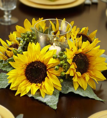 Silk Sunflower and Berry Centerpiece