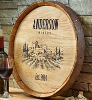 Personalized Vineyard Wine Barrel