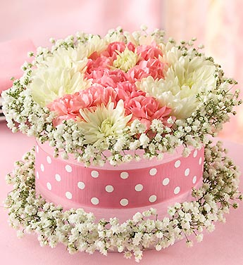 Fresh Flower Cake? Pink Ribbon