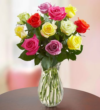 One Dozen Assorted Roses + Free Vase