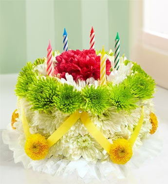 Birthday Flower Cake � - Green and Yellow