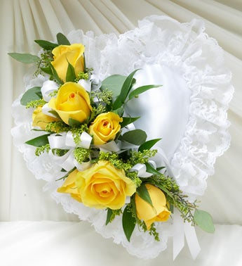 Yellow and White Satin Heart Casket Pillow