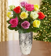 Christmas Lights Roses, One Dozen