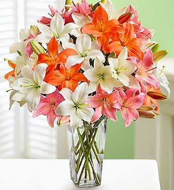 Vibrant Lily Bouquet + Free Clear Vase