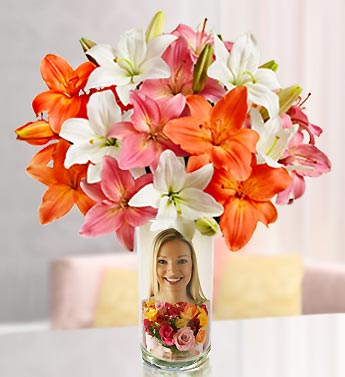 Personalized Vase with Summer Lilies