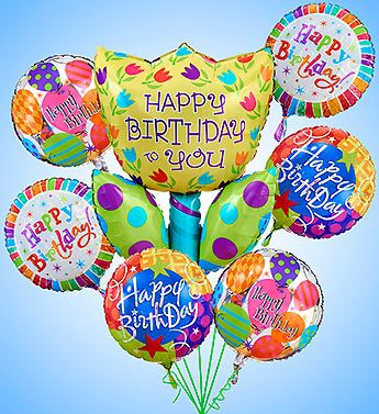 Birthday Tulip Mylar Bundle