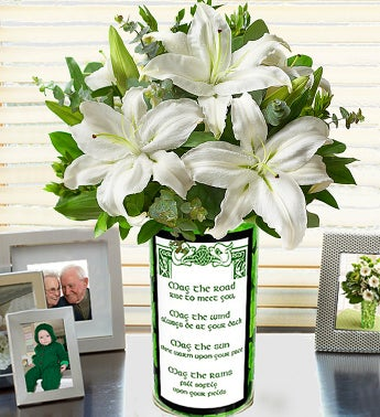 St. Patrick's Day Bouquet All White Lily