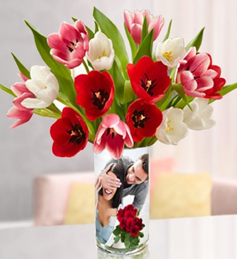 Personalized Vase with Vibrant Tulips, 15 Stems
