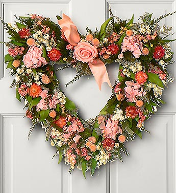I Heart Mom Rose and Hydrangea Wreath