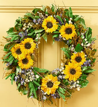 Sunny Sunflower Preserved Wreath - 22""