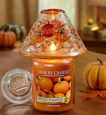 Pumpkin Crackle Shade with Candle
