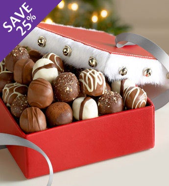 A box of truffle assortments by Fannie May