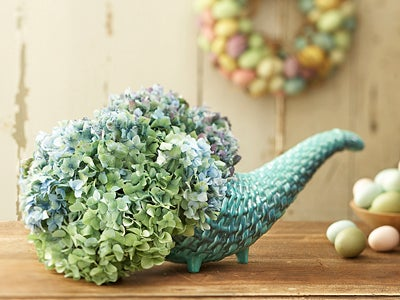 Blue And Green Floral Cornucopia